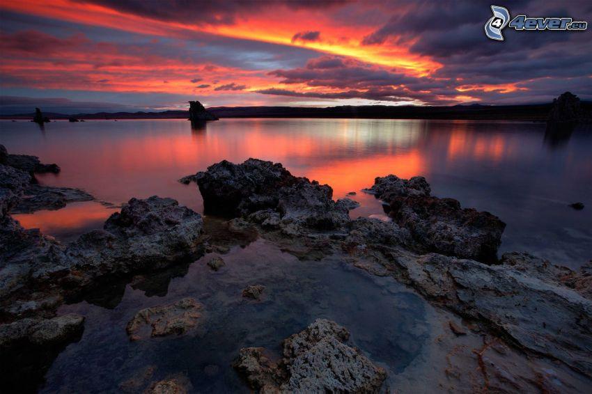 klippor, sjö, orange solnedgång