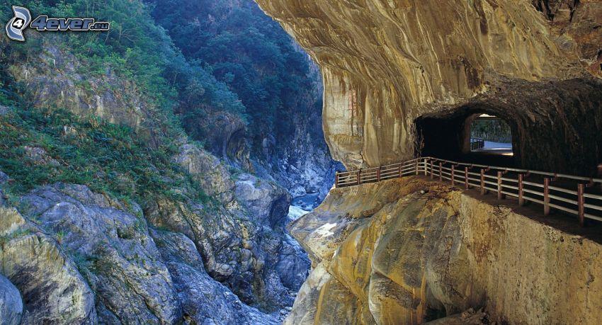 klippor, tunnel, räcke