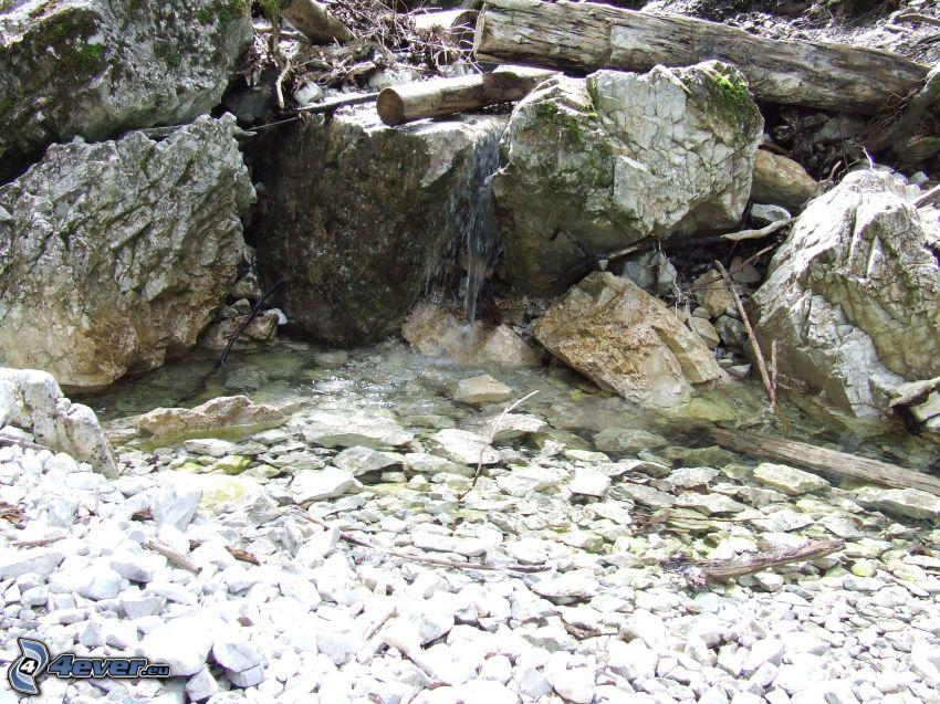 klippor, vattenfall, bäck
