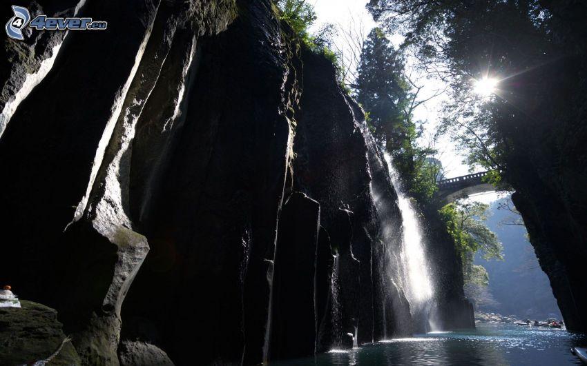klippor, vattenfall, bro, sol
