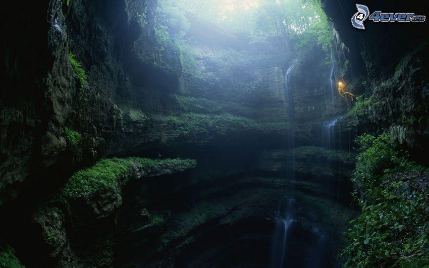 klippor, vattenfall, hål