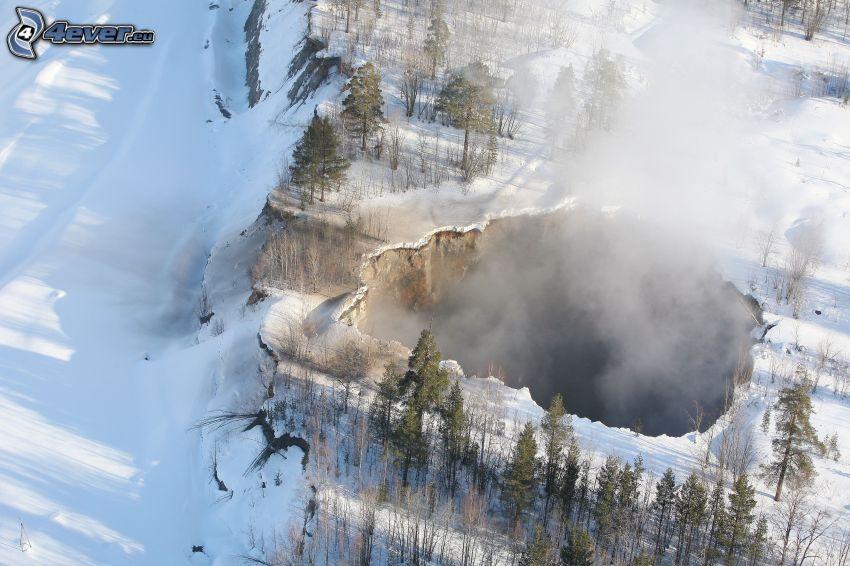 krater, ånga, snö