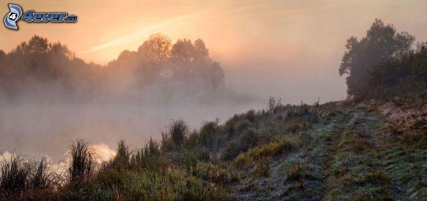 kulle, frost, solnedgång