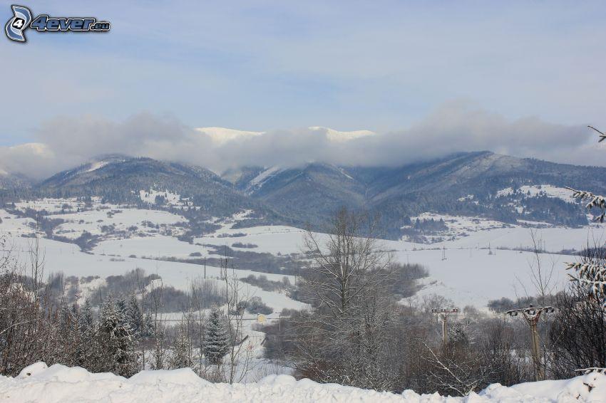 Låga Tatras, snöklädda berg, dal