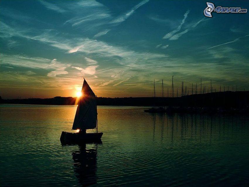 båt, yachthamn, soluppgång, sjö