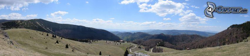 bergskedja, fältstig, äng, panorama