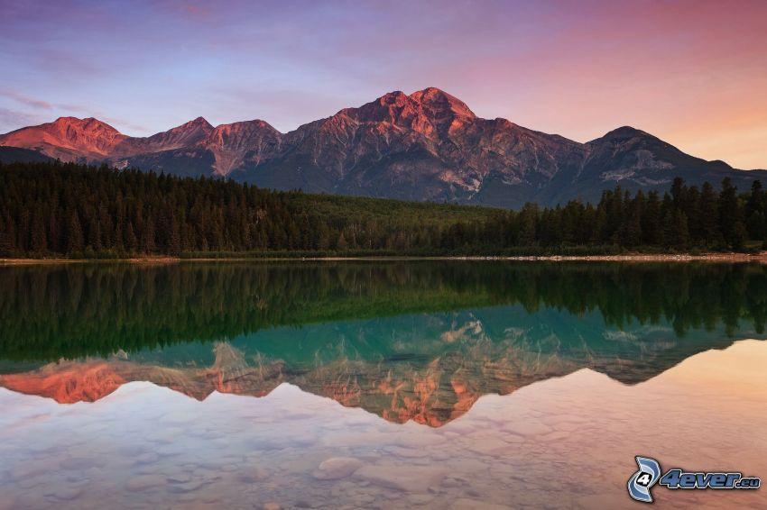 bergskedja, sjö, spegling