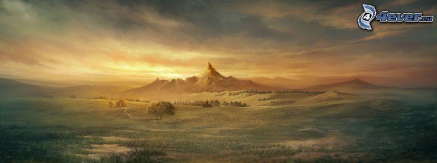 bergstopp, landskap, panorama