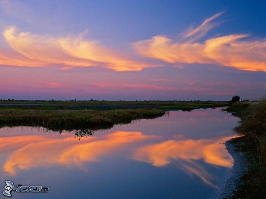 flod, himmel, moln, spegling