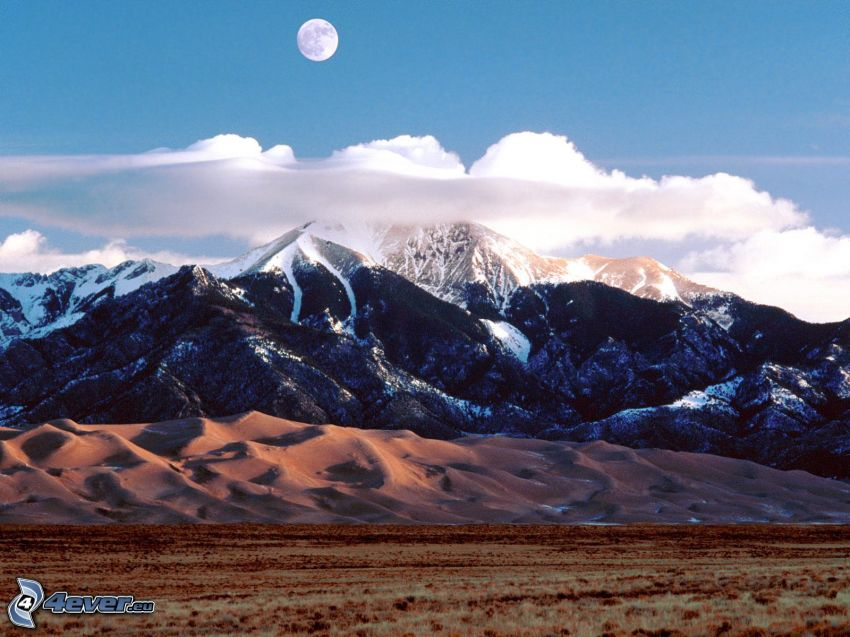 Great Sand Dunes National Park, berg, Månen, moln