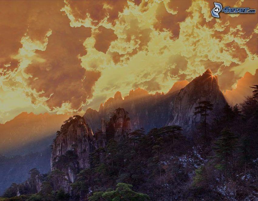 gryning, berg, sköld, Kina
