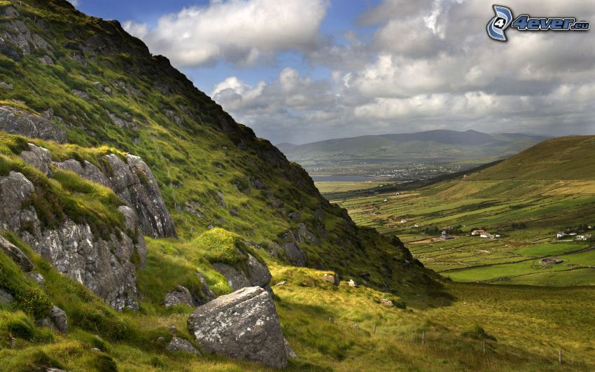 Irland, kulle, stenar, mossa