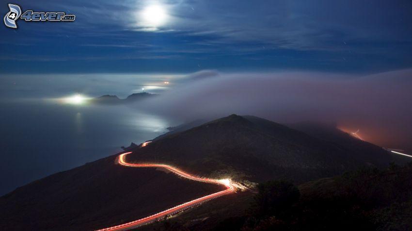 kulle, väg, ljus, dimma, måne