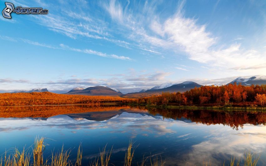 lake Coleridge, bergskedja, himmel, Nya Zealand