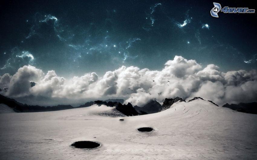 landskap, moln