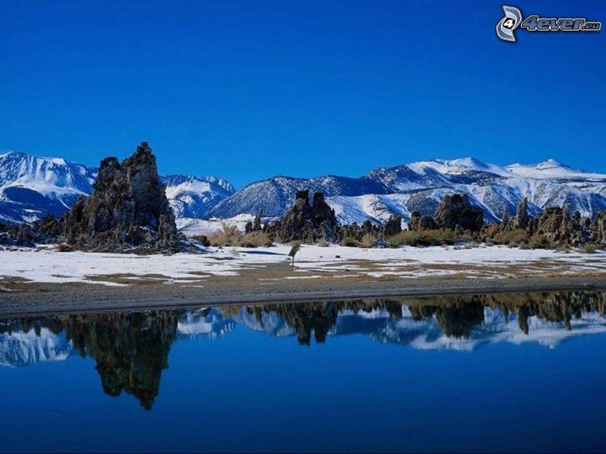 landskap, sjö, natur, snö
