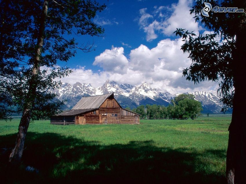 Moulton Ranch, amerikansk farm, Grand Teton National Park, berg