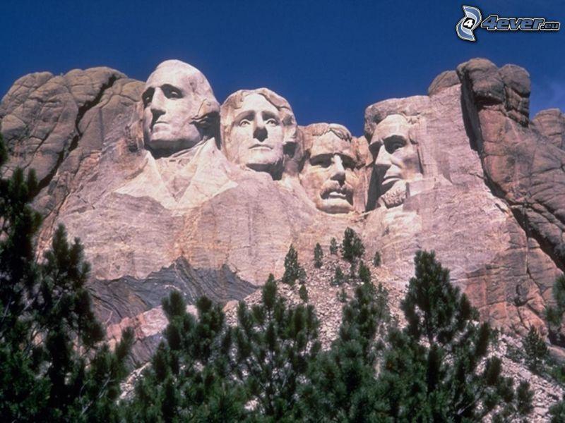 Mount Rushmore, presidenthuvuden, George Washington, Thomas Jefferson, Theodore Roosevelt, Abraham Lincoln