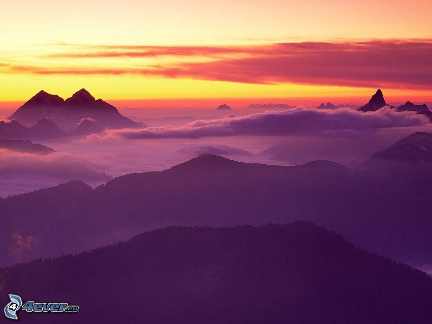 North Cascades National Park, utsikt över landskap, solnedgång, moln