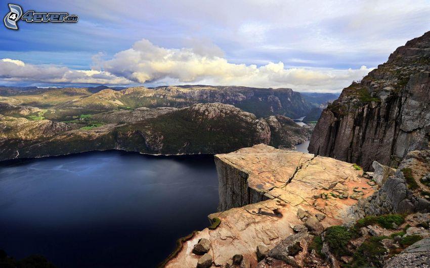 Preikestolen, Norge, rev, klippor, flod, fjord