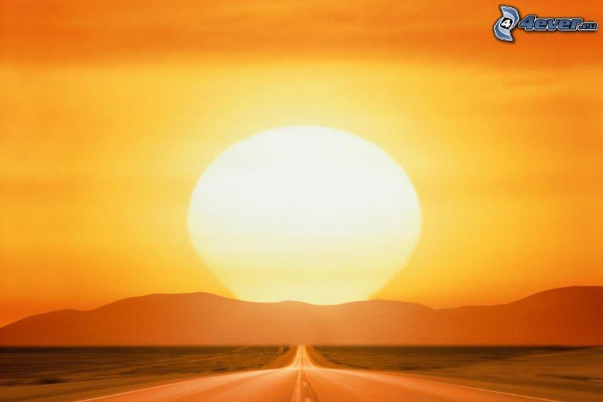 rak väg, orange solnedgång