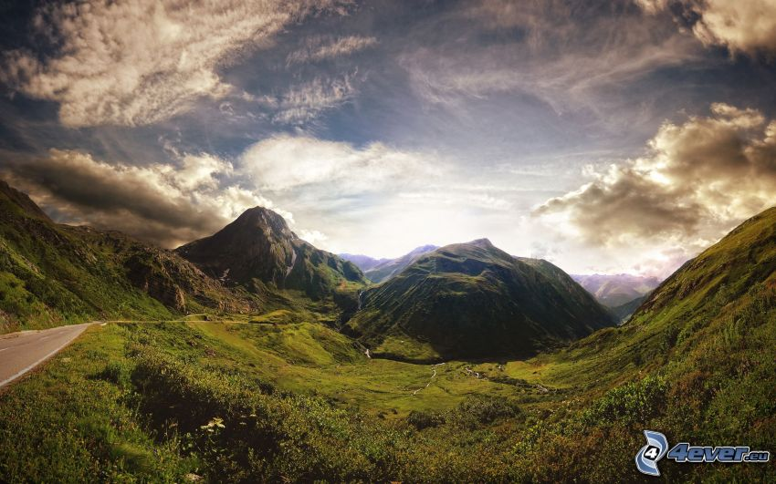 Schweiz, moln, väg, dal