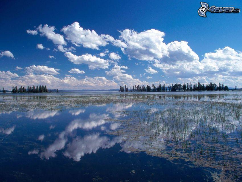 sjö, himmel, spegling, moln