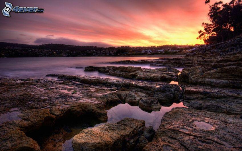 sjö, klippor, solnedgång