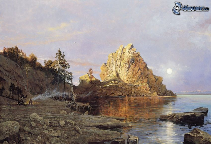 sjö, klippor