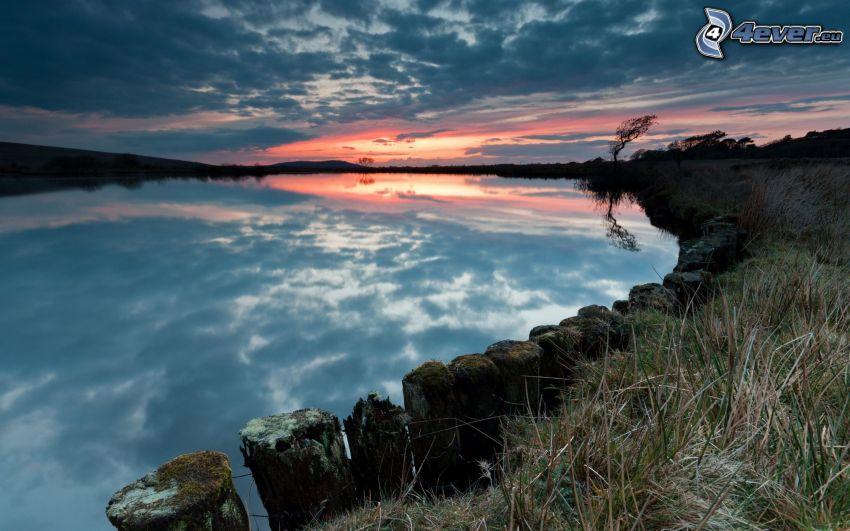 sjö, soluppgång, moln