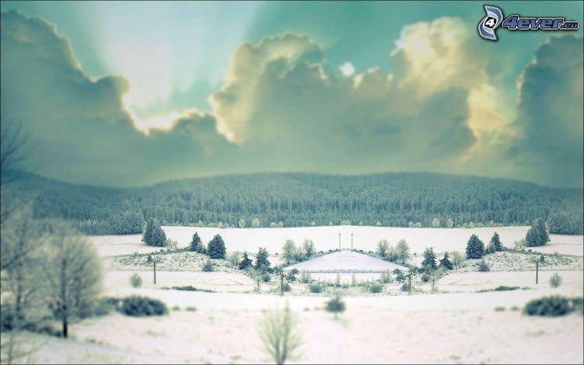 snöigt landskap, moln