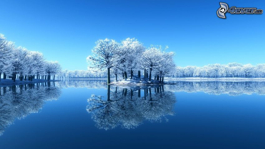 snöigt landskap, sjö, ö, blå bakgrund