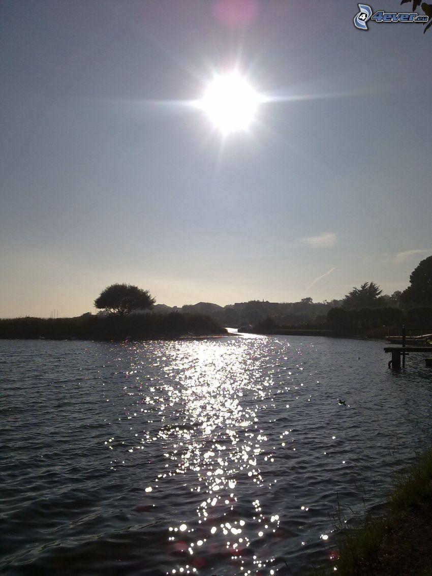 solnedgången över sjö