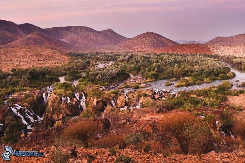 stäpp, Afrika, vattenfall, flod, kullar