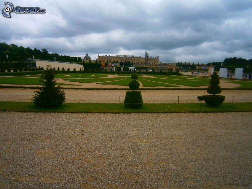 trädgård, Slottet i Versailles, Paris, Frankrike, moln