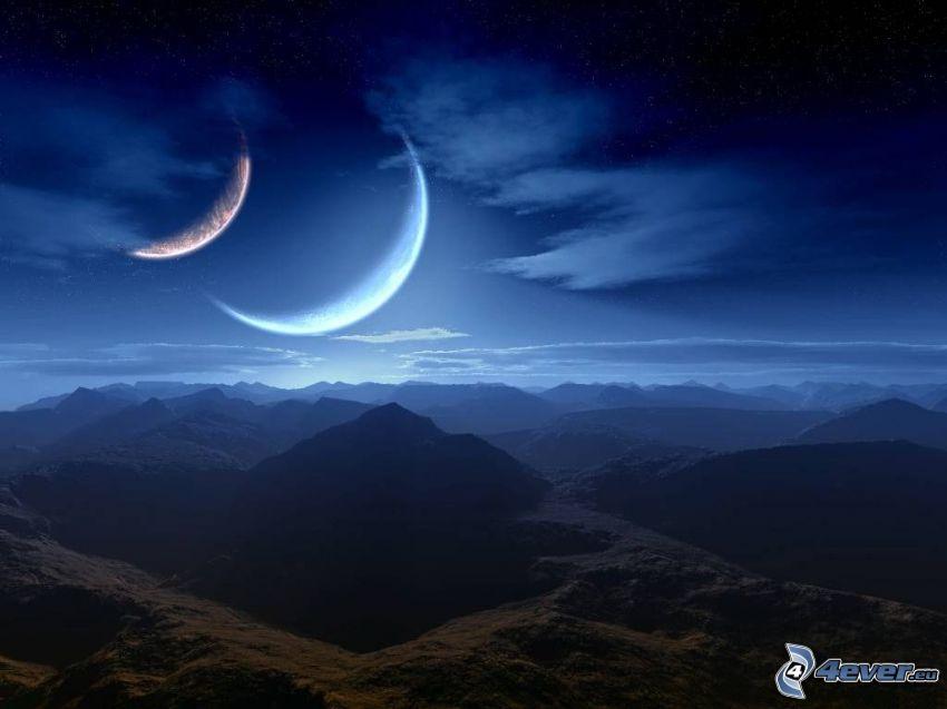 två månar, digitalt landskap, bergigt land, bergskedja