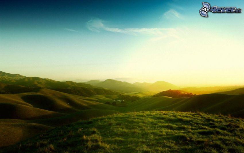 utsikt över landskap, fält, kullar, gräs