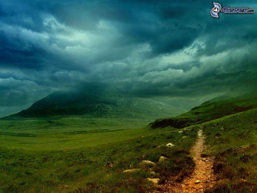 vandringsled, skymning, berg