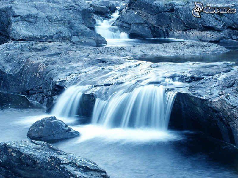 vattenfall, bäck, klippor