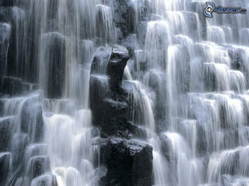 vattenfall, klippor, vatten