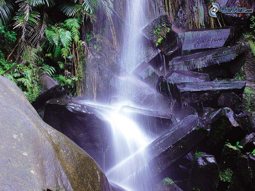 vattenfall, sten, konst