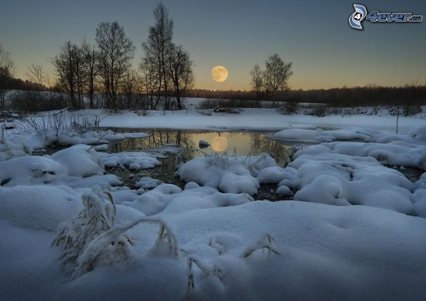 vinterlandskap, Månen, sjö