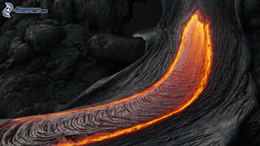 lava, klippor