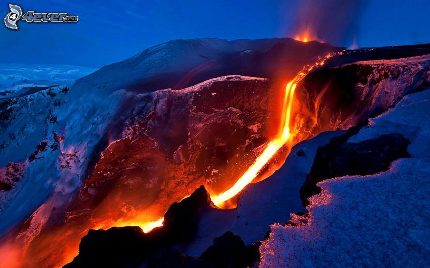 lava, vulkan, snö