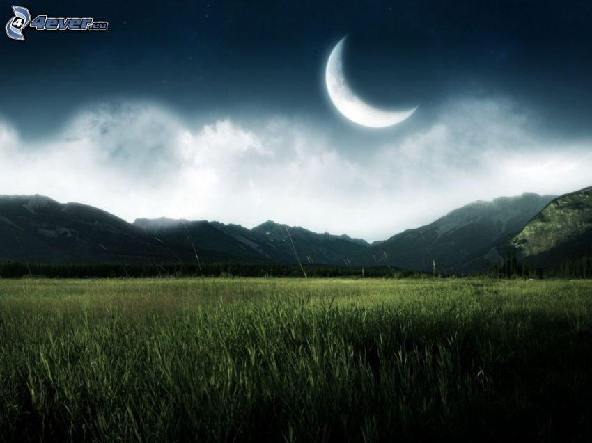 måne, bergskedja, äng