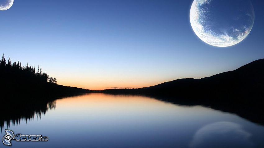 måne, flod, strand