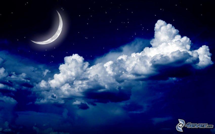 måne, mörka moln, stjärnhimmel, natt
