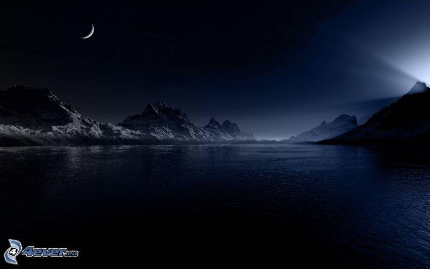 måne, sjö, snöklädda berg, natt