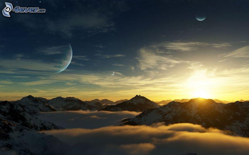 måne, snöklädda berg, ovanför molnen, inversion, soluppgång