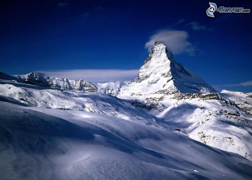 Matterhorn, Schweiz, snöig backe